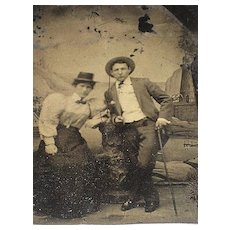 Antique Victorian Tin Type with Woman with Crippled Man with Cane