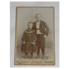 Antique Victorian Small Cabinet Card-Young Man & Young Girl with Hula Hoop Type Toy-Bremen, German