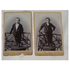 2 Victorian Small Cabinet Cards-Each with One Young Boy on Tree Trunk-Hamburg, Germany