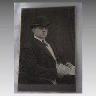 Antique Victorian Cabinet Card of Well Dressed Man with Hat holding a Decorative Document-Bremen, Germany