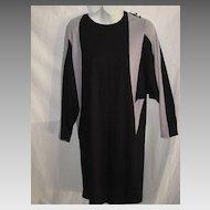 Vintage 1960's Color Block Sheath Dress with Dolman Sleeves-Black & Light Gray-Sz. 7/8