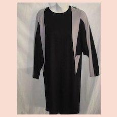 dbe299328eca Vintage 1960's Color Block Sheath Dress with Dolman Sleeves-Black & Light  Gray-Sz
