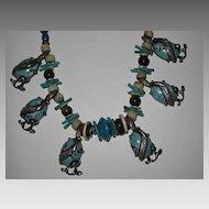 Vintage Aqua Glass Stone Choker Necklace