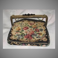 Vintage Jeweled Frame Purse with Detached Black Floral Petit Point Purse Body Made in Austria