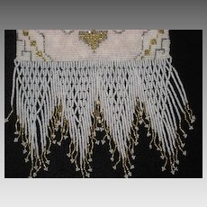Made in France 30's Seed Pearl & Steel Beaded Purse with Beaded Fringe