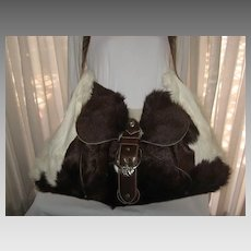 1980's Carlos Falchi Brown/White Calf Hair Travel Shoulder Bag w/Leather Detail-Unused