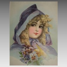 Antique Frances Brundage Chromolithograph  Print of Young Girl in Purple Cape with Pansies