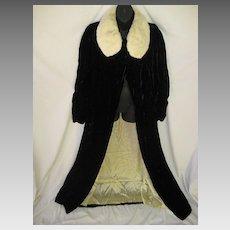 1930's Black Silk Velvet Opera Length Coat with Ermine Collar by Myer Siegel