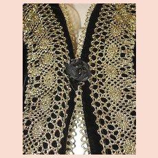 Vintage Bryan Emerson Velvet & Gold Metallic Vest w/ Netted Back-Never Used