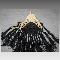 Art Deco 1920's Cream Celluloid Purse with Long Black Crochet Fringe