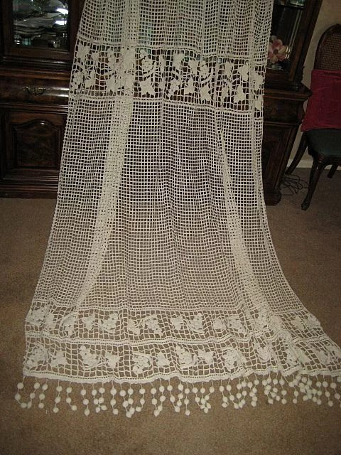 Heavy Antique 1900 S French Hand Crochet Curtain With Long