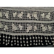 Heavy Antique 1900's French Hand Crochet Curtain with Long Bobbles, Grapes & Flowers