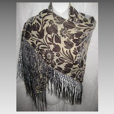 Floral Gray Voided Cut Velvet & Rayon Piano Shawl with Knotted Fringe