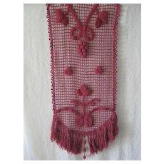 Antique French Hand Crochet Runner in Light Burgundy Red with Grapes, Leaves & Fringe