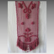 Antique French Hand Crochet Runner in Light Burgundy Red with Grapes, Leaves & Fringe