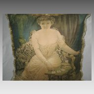 Antique Lithograph Pillow of Lady Playing Cards with Leopard Throw