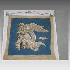 "Antique Bead Work  Wall Hanging of Goddess & 2 Young Children entitled ""Night with her Children""- Thorvaldsen"