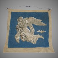 """Antique Bead Work  Wall Hanging of Goddess & 2 Young Children entitled """"Night with her Children""""- Thorvaldsen"""
