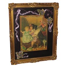 1930's Framed Lithograph w/Collie & Children with Custom Matting, Antique Flowers