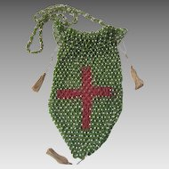 Antique Hand Beaded Drawstring Purse with Red Cross