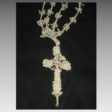 Vintage Wax Wedding Crucifix/Cross Necklace w/Long Wax Double Strands