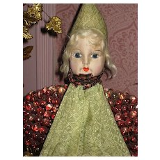 ON HOLD Deco Cloth Doll Face Pajama or Lingerie Holder-Never Used