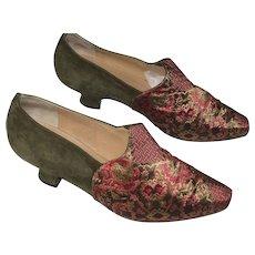 1980's Maud Frizon Paris Brocade & Olive Green Suede Shoes-Size 37 1/2-U.S. 7