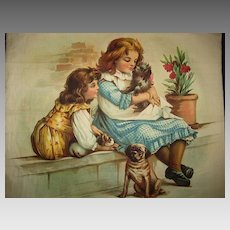 Antique Chromolithograph Pillow Top-2 Children & 3 Dogs