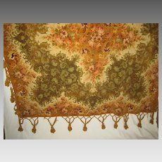 "Large Victorian Chenille Tasseled Table Cover w/Roses Center & Border-Green, Light Rust  74"" Square"