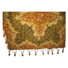 "Large Victorian Chenille Tasseled Table Cover w/Roses Center & Border-Green, Light Rust  74"" Square"
