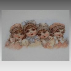 Antique Frances Brundage Bonnet Babies China Tea Trivet