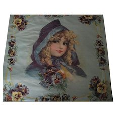Unused Antique Brundage Lithograph Pillow Top-Girl in Purple Cape w/Pansies