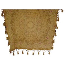 Antique Victorian Chenille Table Cover w/Tassels-Muted Gold, Beige, Burgundy & Grayish Blue