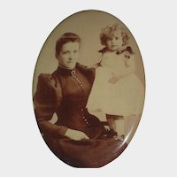 C. 1900's Celluloid Photo Button of  Mother & Adorable Curly Haired Little Girl