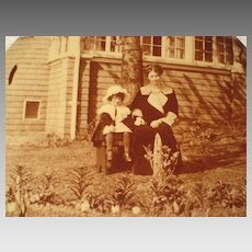 C. 1900's Celluloid Photo Button Mother & Young Daughter Outside