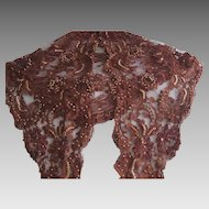 1980's Bryan Emerson  Hand Beaded Sequined Bronze Copper Floral Net Lace Scarf