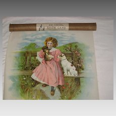 Antique Chromolithograph Pillow Top of Girl & Dogs-De Laval Tube-Unused
