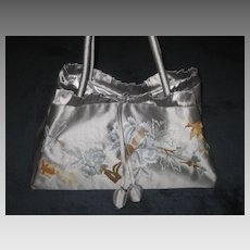 1990's Gray Silk Embroidered Purse w/Silk Ball Ties-Never Used