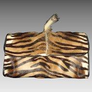 Vintage Carlos Falchi Fur Shoulder Bag Purse/Clutch w/Mane-Never Used