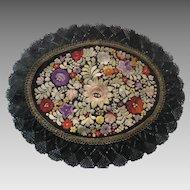 1920's Matyo Silk Embroidered Oval Doily w/Gold Metallic & Silky Lace Trim