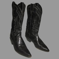 ON HOLD-Used Justin Women's Cowboy Boots-Black Lizard & Leather-8 1/2 B