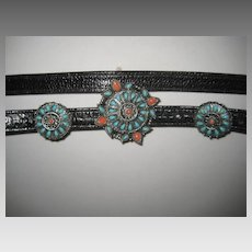 1980's Ann Turk Black Faux Alligator Belt w/Faux Turquoise & Coral Closure-Never Used