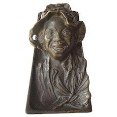 Vintage Black Boy Inkwell in Bronzed Cast Iron
