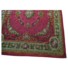 ON HOLD-2DIE4-Antique Mohair Table Cover/Rug/Throw in Red & Raspberry w/Roses