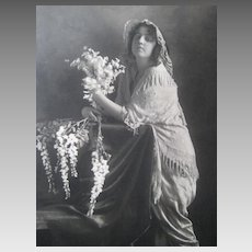 C. 1900's Sepia Wedding Photo of Young Lady in Wedding Shawl with Bouquet & Cascading Flowers
