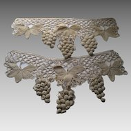 Pair of 1920's French Hand Crochet Grape & Leaf Clusters for   Pelmets, Trim
