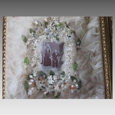 Victorian Wedding Shadow Box w/Wax Tiara, Corsages, Veil & Photo of Couple