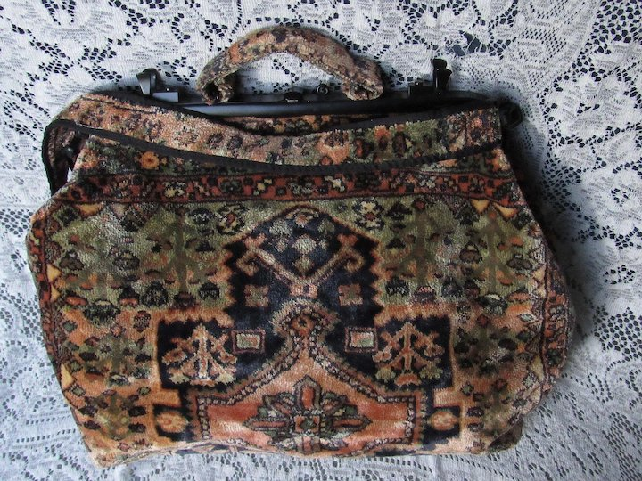 f5380c45ad Vintage J. Peterman XL Persian Carpet Design Carpet Bag Tote w/Shoulder  Strap-