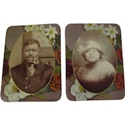PR Antique Black Americana Celluloid Photo Buttons-Man w/Pipe & Wife