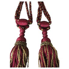C. 1900's Pair of French Drapery Curtain Tie Backs w/Braided Silky Tassels-Claret Red, Goldish Yellow, Black